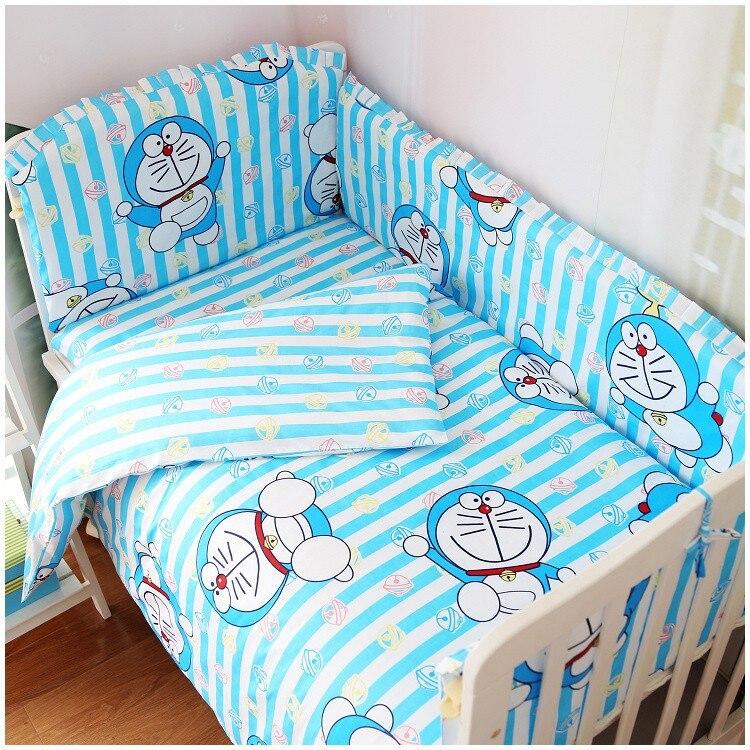 Promotion! 6PCS Doraemon Baby Cot Crib Bedding Set (bumpers+sheet+pillow cover) promotion 6pcs doraemon baby bedding sets crib set 100