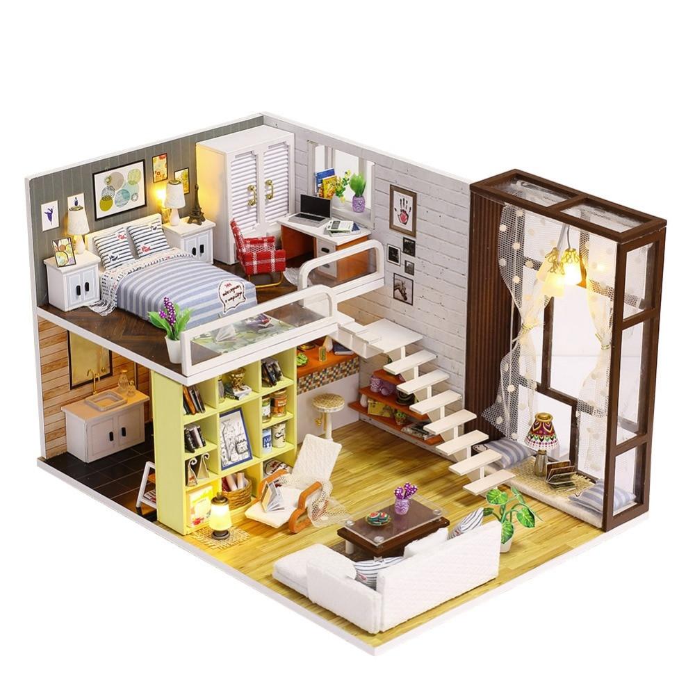 Iiecreate bricolage maison en bois jouet en bois Miniatura maisons de poupée Miniature maison de poupée jouets avec meubles LED lumières cadeau d'anniversaire