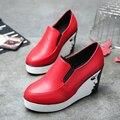 Новое прибытие высота увеличение platfom обувь женщина мода весна черный/красный laofers vintage поскользнуться на повседневная обувь женщин лианы