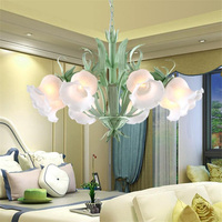 American Rural Bamboo Plant Green Leaf Flower Bud 6 Head Hanging Pendant Lamp Light Cafe Bar