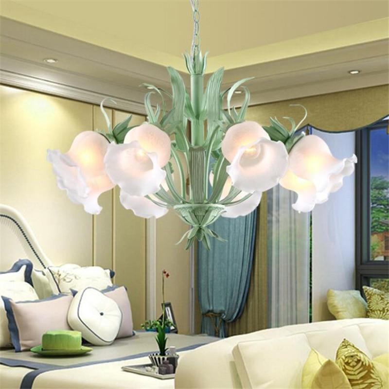 American Rural Bamboo Plant Green Leaf Flower Bud 6 Head Hanging Pendant Lamp Light Cafe Bar Clothing Shop Villas Home Lighing