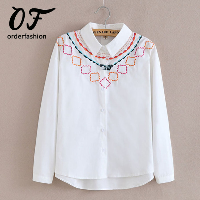 178f00e2904 Women Top Blouse 2017 Cotton Blouse Women Embroidery Shirt Cotton Tops  Ladies White Blusas Feminina Long