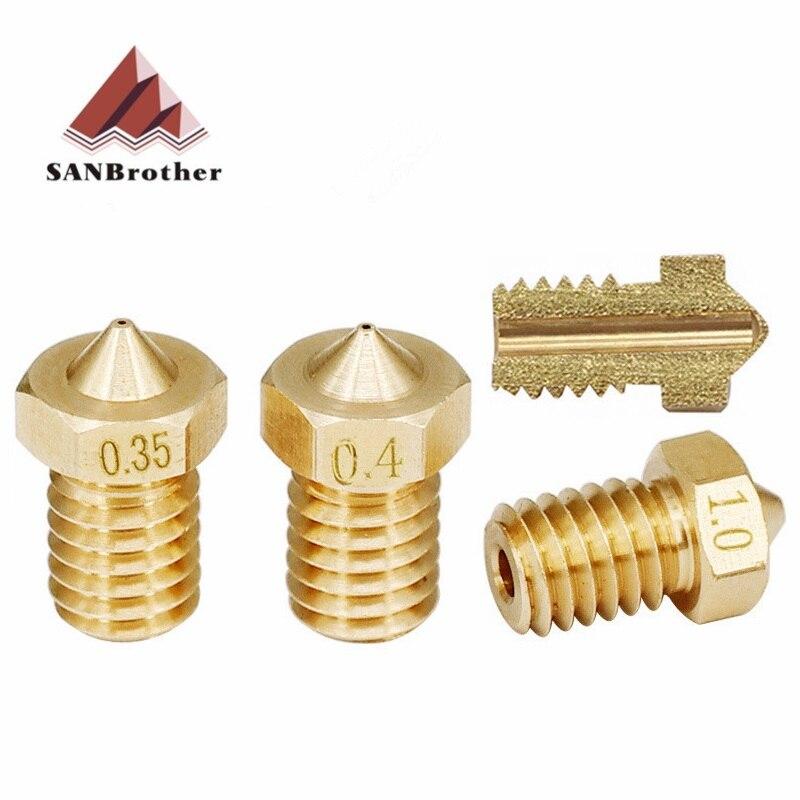 5pcs/lot V5 V6 Nozzle 0.2 0.25 0.3 0.35 0.4mm 0.5 0.6 0.8 1.0mm Part Copper 1.75mm Filament M6 Threaded Brass 3D Printers Parts