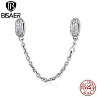 VOROCO 100 925 Sterling Silver Pave Inspiration Safety Chain Clear CZ Stopper Charms Fit Bracelet DIY
