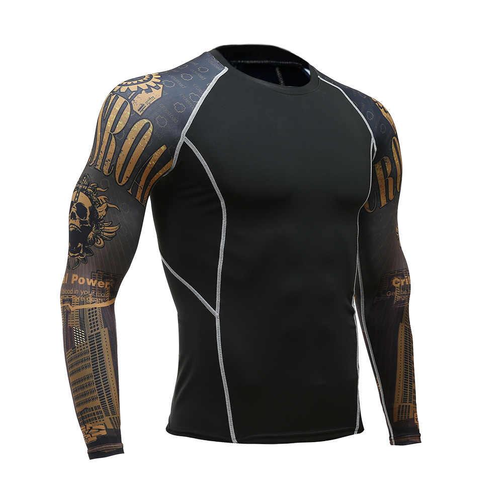 Ditingkatkan Otot Man Kompresi Ramping T-Shirt Lengan Panjang 3D Cetak MMA Rashguard Kebugaran Basis Lapisan Pakaian