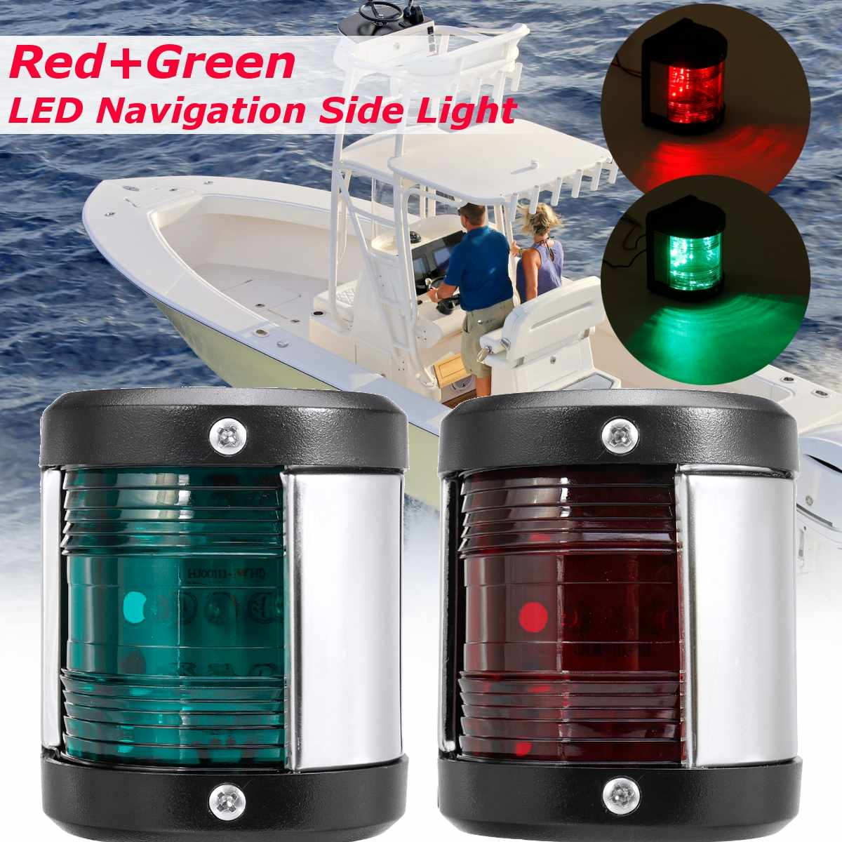 2Pcs Stainless Steel 12V LED Bow Navigation Light Red Green Sailing Signal Light For Marine Boat Ship  Yacht Warning Light