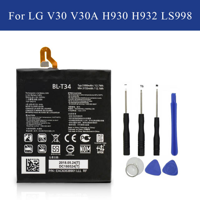 US $16 13 15% OFF|Replacement Battery BL T34 For LG V30 V30A H930 H932  LS998 3155mAh/3300mAh BLT34 with Opening Tools+Tracking-in Mobile Phone