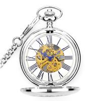WOONUN New Fashion Analog Men Watch Mechanical Pocket Watch With Necklace Chain Steampunk Hand Wind Pocket Watch Silver Color