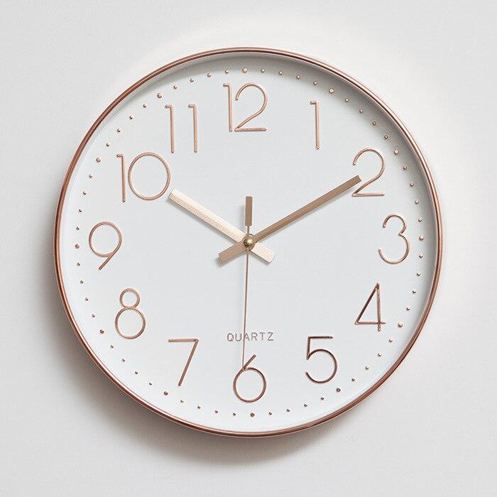 Round Clock Digital Minimalist Rose Gold Wall Clock Modern Design Bedroom Kitchen Office Silent Decorative Quartz Clock