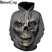 BIANYILONG 2019 Skull headr Men Hoodies Sweatshirts 3D Print