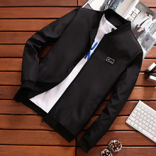 New Spring Mens Jackets Black Solid Plus Velvet Windbreaker Male Baseball Bomber High Quality -2