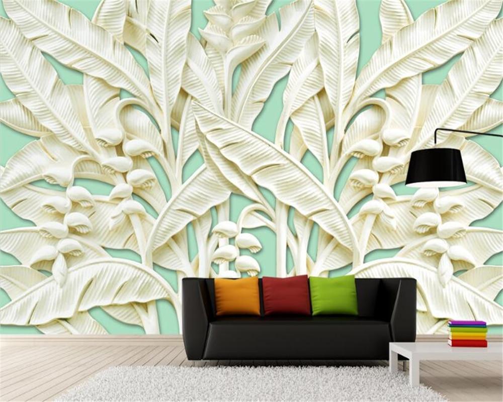 Beibehang 3d Wallpaper Estereo Bajiao Arbol Relieve Tallado En