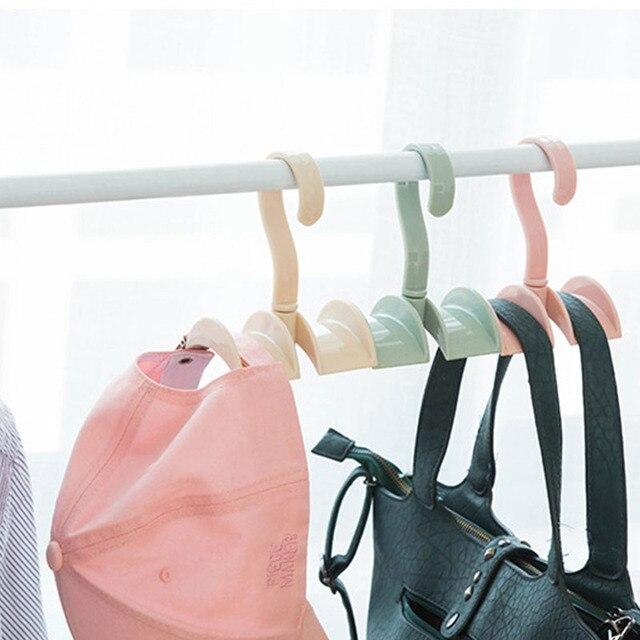 1pcs Rotatable Plastic Storage Rack Handbag Storage Organizer Storage Hook  Hanger Holder Wardrobe For Home Closet