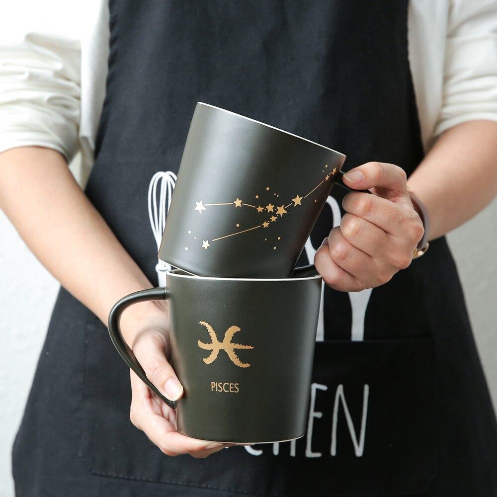 Creative Zodiac 12 Constellation large capacity glass ceramic creative Sign Mug Cup office coffee cup