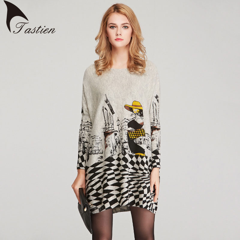 TASTIEN Brand 2017 Spring Autumn Women Knitted Top Tees Plus Size Thin Fabric Fashion Cartoon Print Pullovers Knitwear Sweater