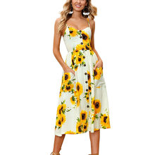 b1f9db4fe2 Summer Cheap Clothes China Women Sunflower Floral Print Sexy Backless  Mid-Calf Spaghetti Strap Dress