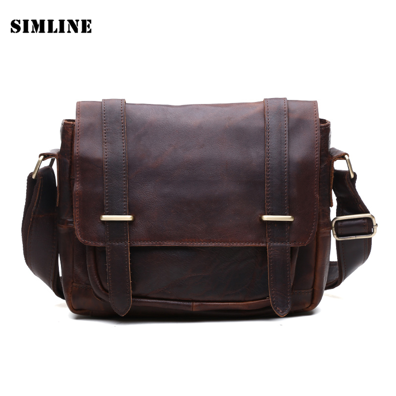 ФОТО Brand High Quality Vintage Casual 100% Real Genuine Crazy Horse Leather Cowhide Men Messenger Bag Shoulder Cross Body Bag Bags