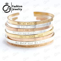 2017 Stainless Steel Engraved Positive Inspirational Quote Hand Stamped BAR Cuff Bracelet Mantra Bangle for women (COLOR:SILVER)