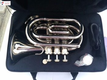 Mendini MPT-N Nickel Plated Bb Pocket Trumpet New 2017