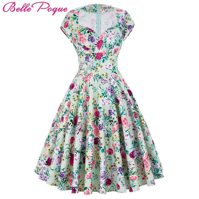 e90fbba946ac76 Belle Poque Damen Sommerkleider 2018 Sommer Retro Baumwolle Party Kleid  Polka Dot Blumenmuster Short Vintage 60