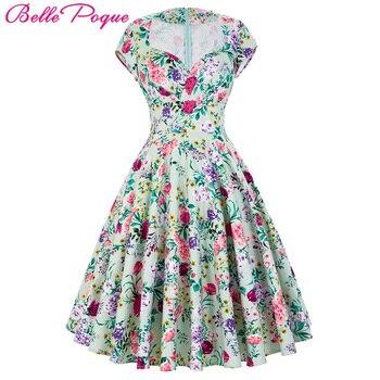 63354bade44 Belle poque женские летние платья 2018 Лето ретро Хлопок вечерние платье в  горошек цветочный узор короткие Винтаж 60 s 50 s платья для женщин