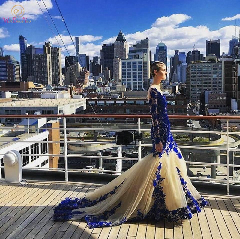 2019 New Arrival Long Sleeve Royal Blue Lace Evening Dresses Mermaid Capped Appliques Zipper O Neck Plus Size Tulle Prom Gowns