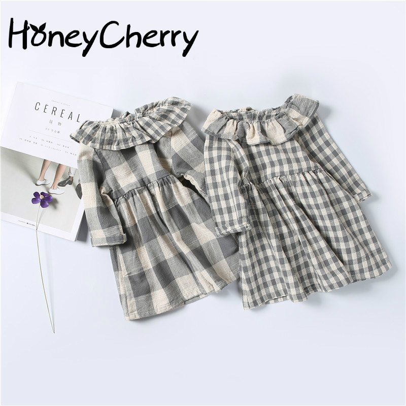 2017 Little Girls Lapel Cotton Fabric Plaid Dress Of Infants And Young Children Girl Dress Kids Dresses For Girls textiles and dress of gujarat