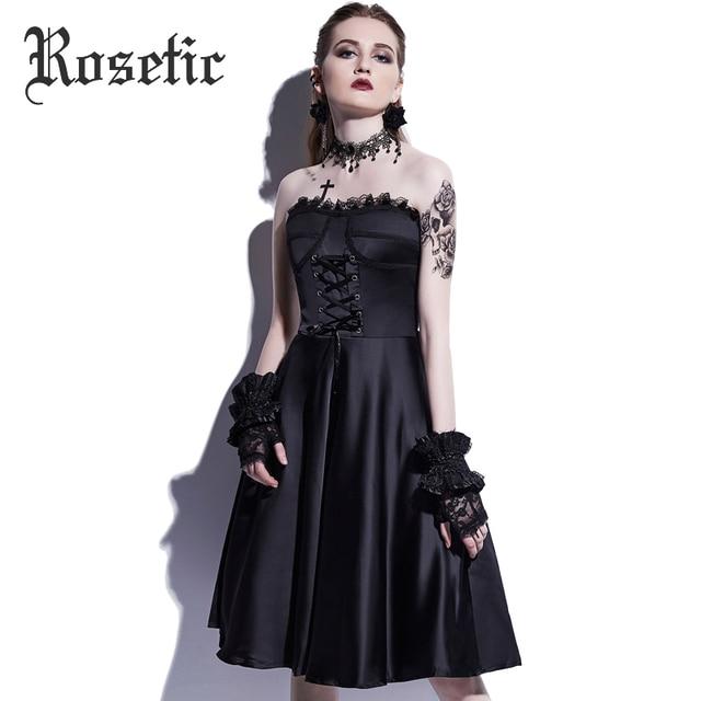 Rosetic Gothic Dress Straps Vintage Dress Lace Strapless Black Party