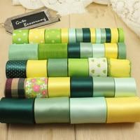 Mixed Ribbon Set 36 Yards Flower Dot Solid Printed Grosgrain Ribbon Satin Tapes Sewing Supplies DIY