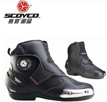 (1pair/Black) High Quality Genunie Leather Motorcycle Cycling Boots Motocross Shoes Footwear Brand Scoyco MBT003(Size EU39-46)