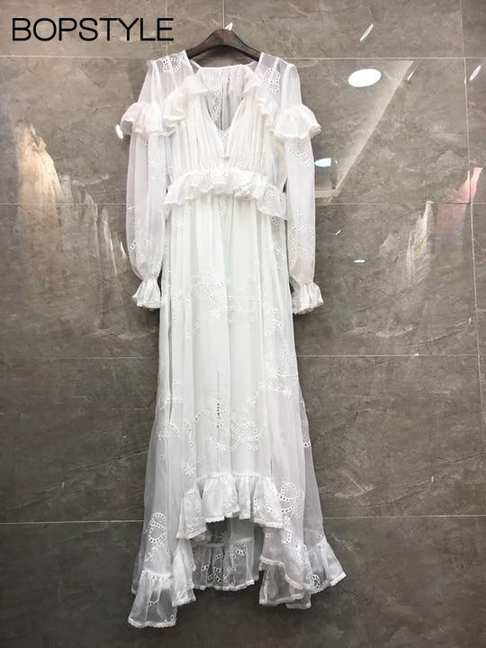 Col blanc Et 2018 Slip noir Dentelle Out Midi En Blanc Robes Avec Est Caractéristiques Creux Correspondant Livré Robe Détail Femmes Volants Brodé Noir À V SqXFBw