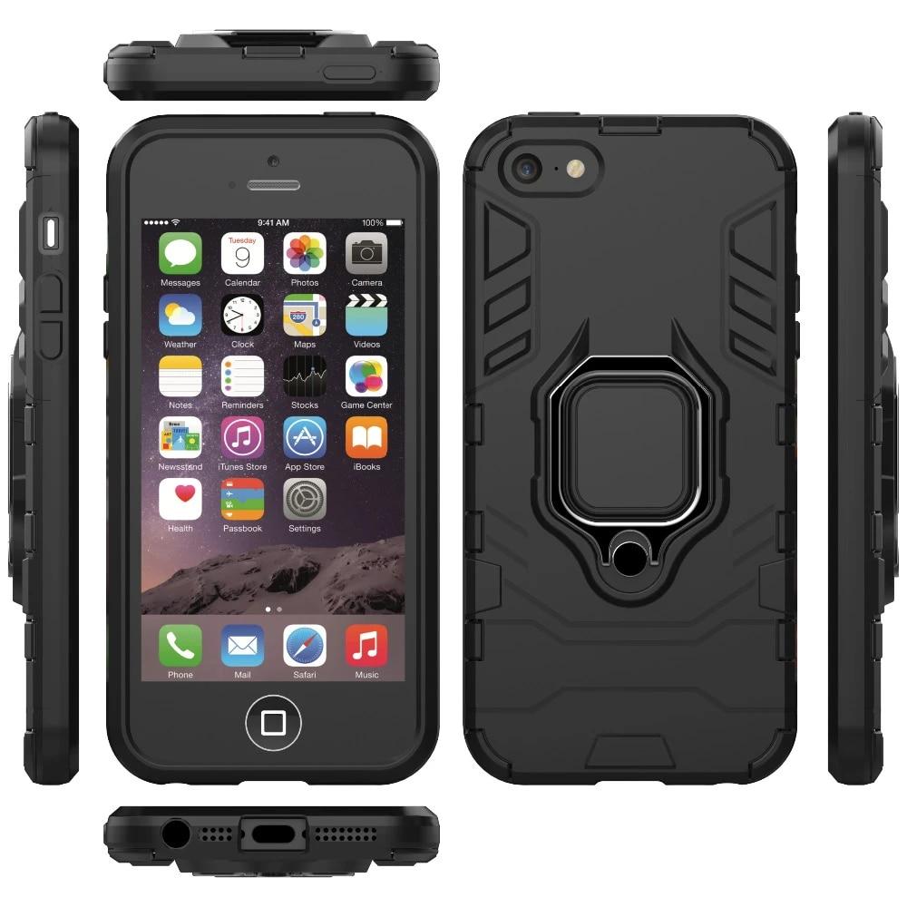 Coque antichoc en Silicone avec anneau de doigt pour iPhone 5 5s, coque armure Durable pour iPhone 5c avec support