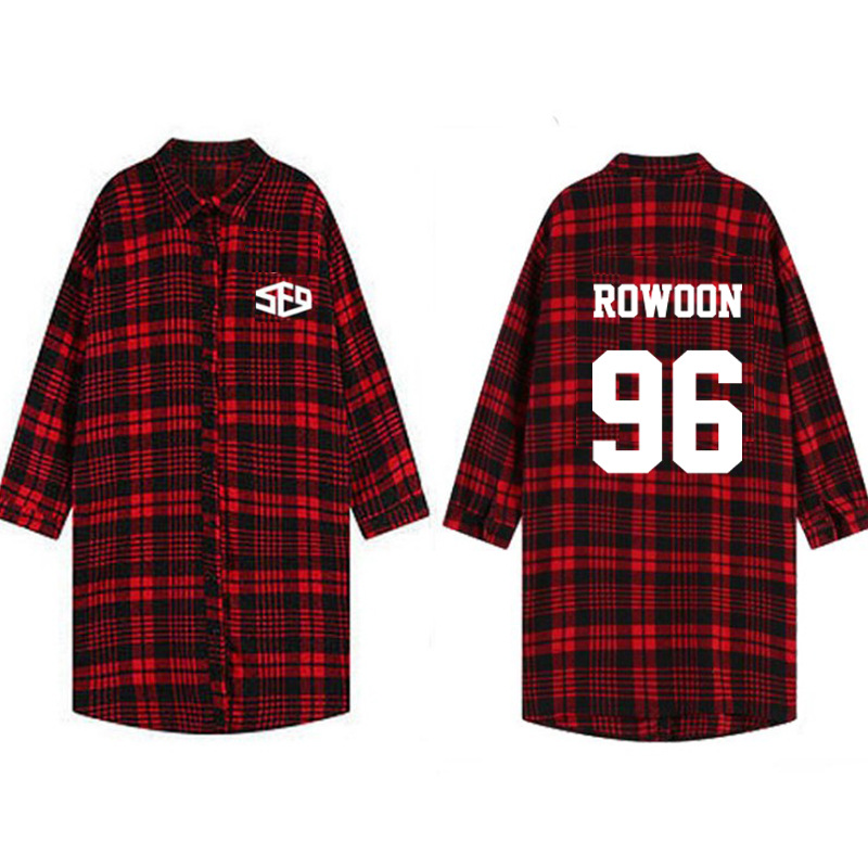 Women's Clothing Adroit Kpop Sf9 Harajuku Long Section Of The Spring Autumn Plaid Dress Shirt Jacket K-pop Sf9 Collective Red Plaid Long-sleeved Shirt