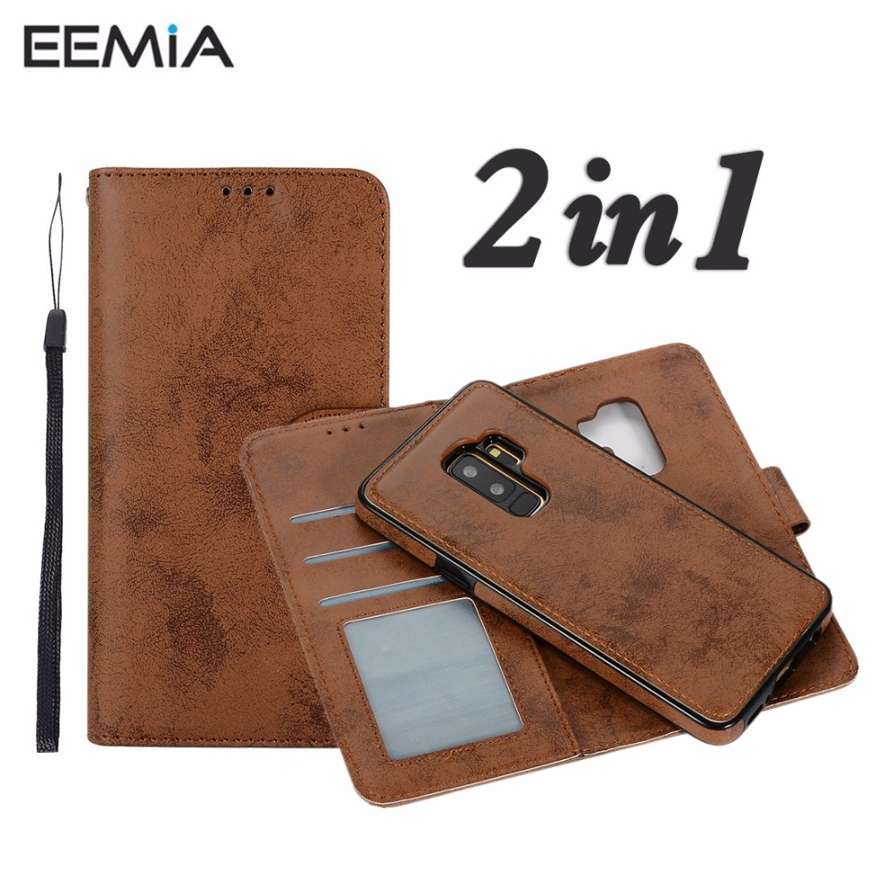 EEMIA телефон чехлы для samsung Galaxy S9 плюс крышка Силиконовые ТПУ + кожаный чехол для samsung Galaxy S9 случае кошелек съемная