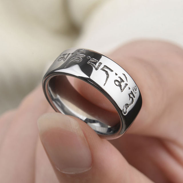 New Design Vintage Style High Polished 8mm Tungsten Man's Rings Deep Engrave Six Syllable Mantra Comfort Fit Size 7-11