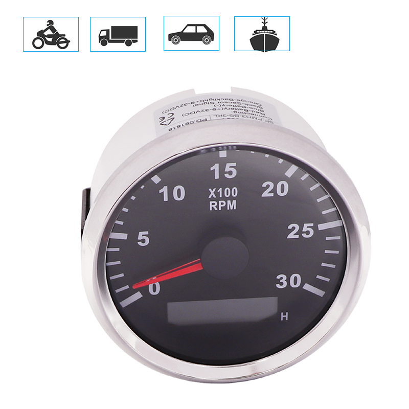 KUS Universal Tachometer REV Counter RPM Gauge with Hour Meter 0-3000RPM 85mm 12V//24V with Backlight