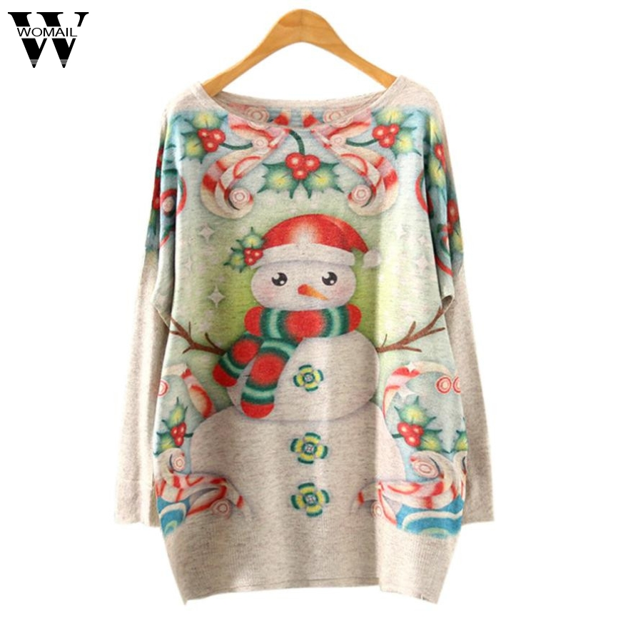 CharmDemon New Arrival Women Christmas Batwing Long Sleeve Color Loose Knit Sweater Knitwear Tops nr3.6A