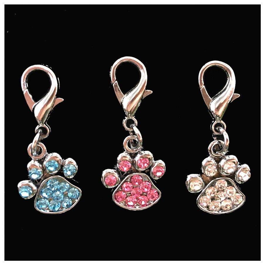 2pcs Rhinestone Paw Collar pet Charm Pet Jewelry Cat dog collar pendant Bone Necklace Collar Puppy collar accessory(China)