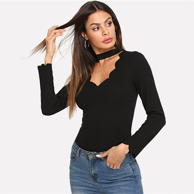 Minimalist Scallop Trim Black Boho Top