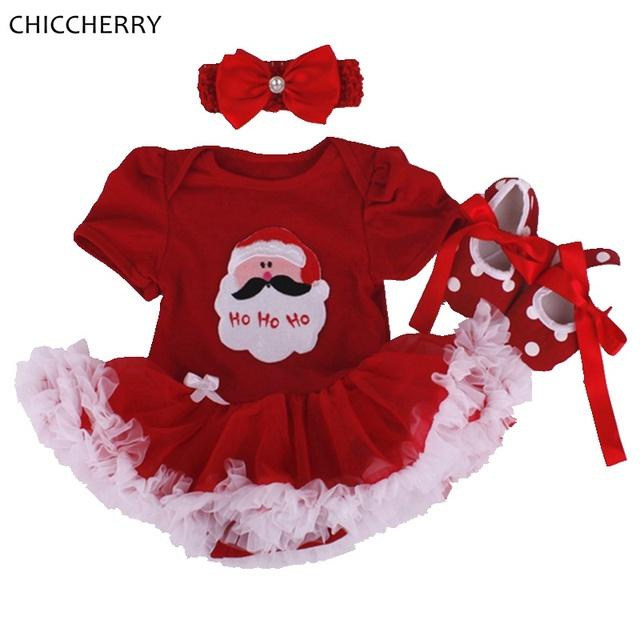 Papai Noel bonito Bebê Recém-nascido Menina Roupa Do Natal Traje Infantil Roupas Vetement Fille Bebe Menina Da Criança Roupas De Natal