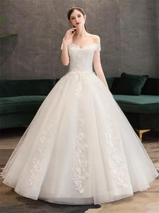 Image 4 - Plus Size Lace Flowers Peals Wedding Dresses Simple Elegant Wedding Gowns Bride Dress Boda robe de mariee Boat neck Off Shoulder