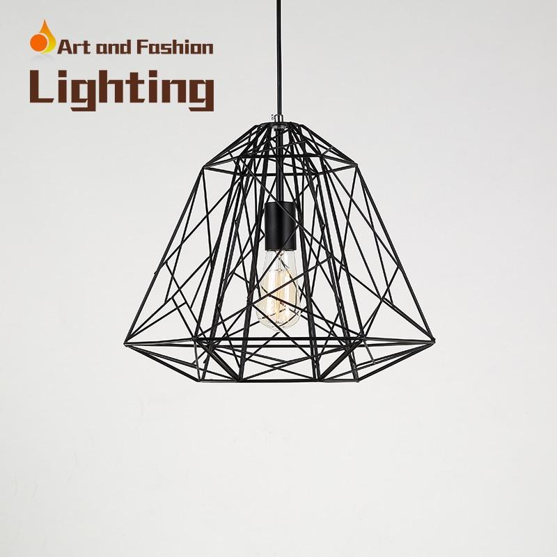 ФОТО Northern Europe Retro Industry Pendant Lamp E27 Ac 110v 220v Iron Diamond Pendant Light