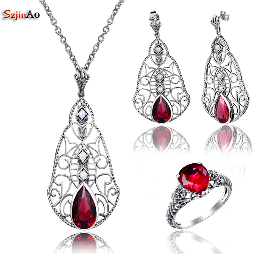 Szjinao Fashion Indian Red Ruby Wedding Vintage Bohemia argento 925 - Gioielli