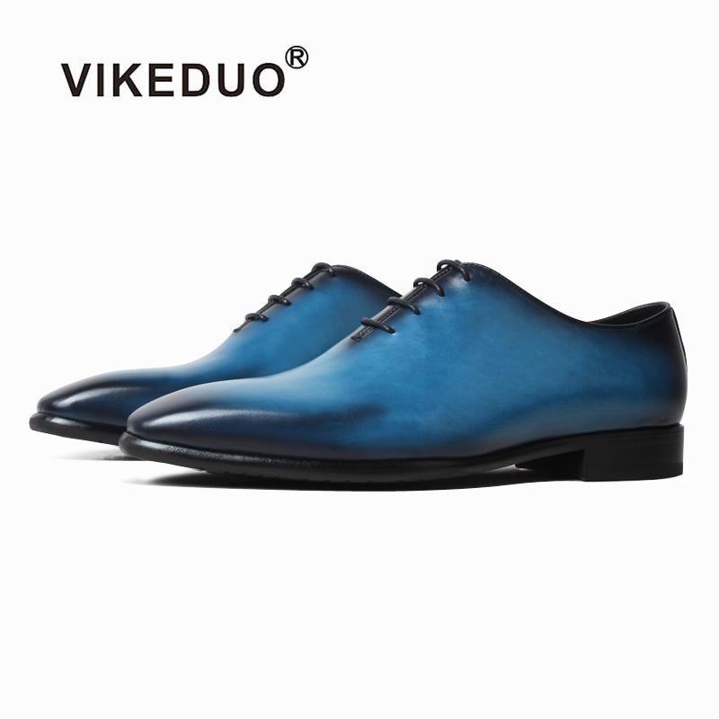 VIKEDUO Men s Oxfords Shoes Genuine Leather Formal Dress Shoe Wedding Office Business Blue Footwear Male