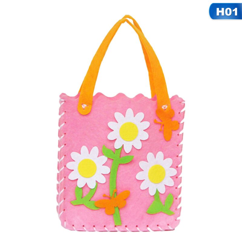 1PCS Children Non-woven Cloth Cartoon Animal Flower Handmade Kids DIY Applique Bag Crafts Art Craft Gift