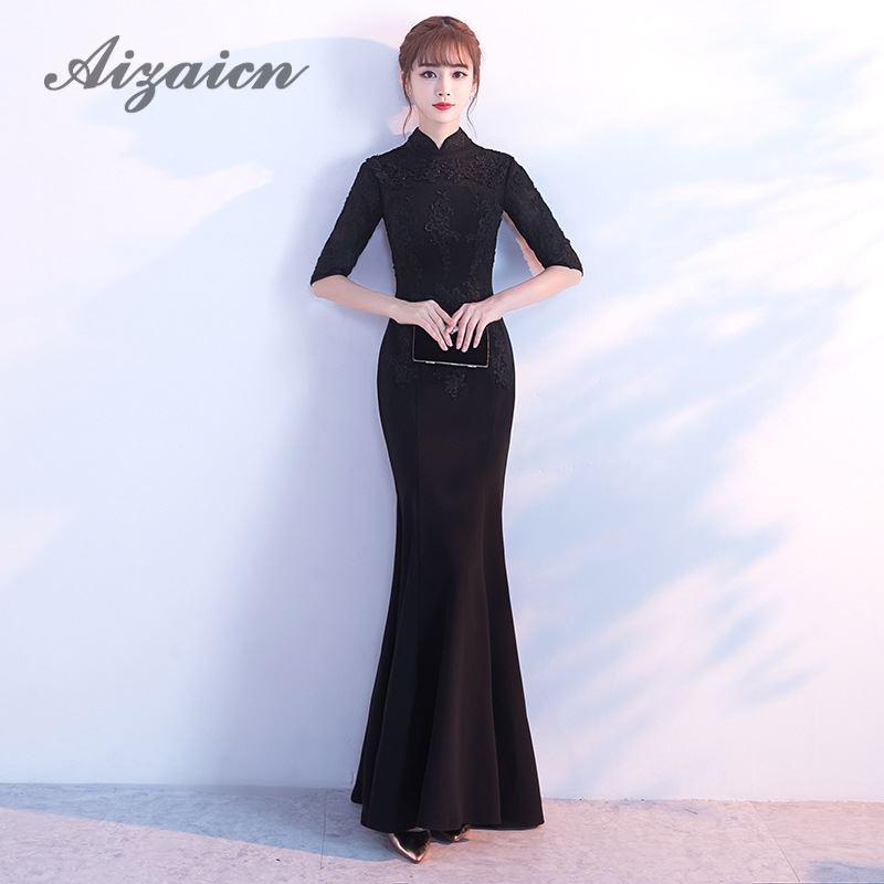 2018 noir Qippao Sexy moderne Qipao robe traditionnelle chinoise mode orientale robes de soirée chine magasin de vêtements