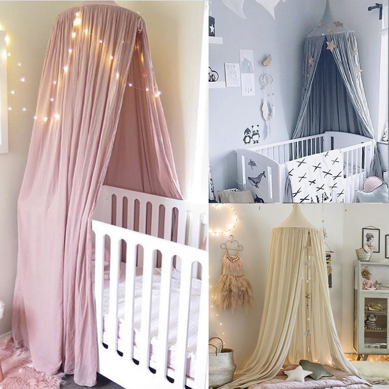 Kids Round Princess Canopy Bed Curtain Cotton Hanging Tent Hung Dome Baby Kids Play House Tents