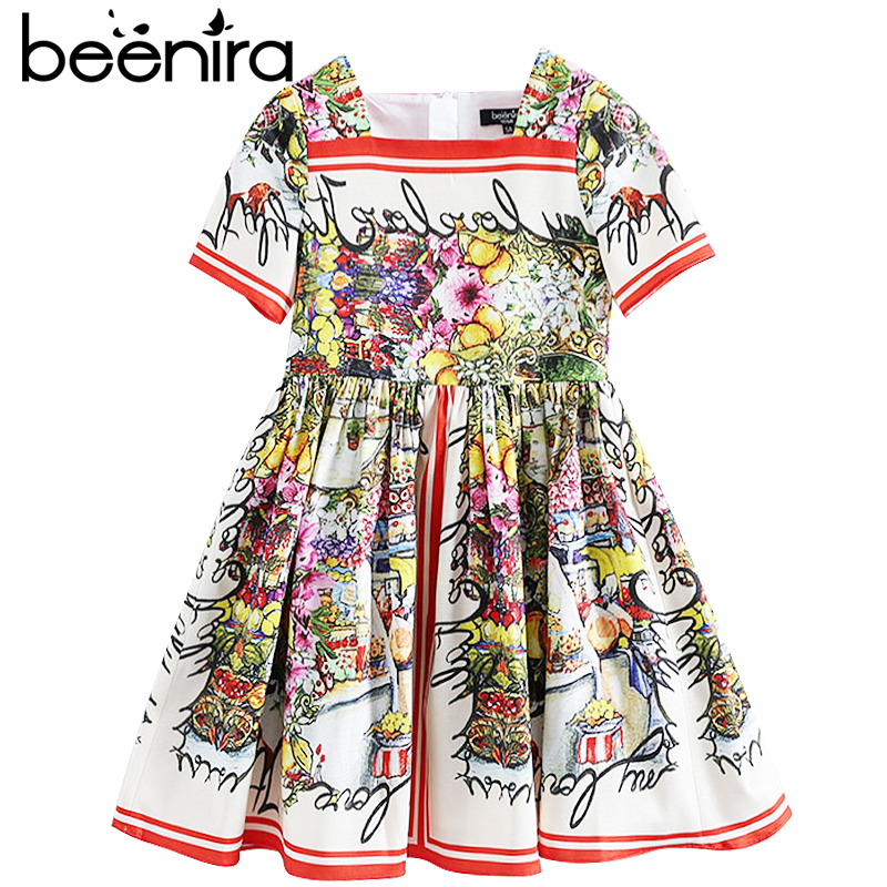 Beenira Children Clothes Dress 2017 New Summer Style Kids Short-Sleeve Graden Pattern Exquisite Dresses Design 4-14Y Girls Dress beenira children clothes dresses 2017 new summer fashion style girls flower pattern bow princess dress for 4 14y baby girl dress
