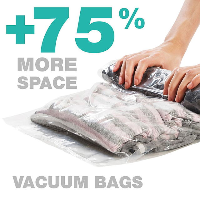1 pc Hand Rolling Compression Vacuum Bag Border Foldable Compressed Home Clothes Plastic Storage Bag Space Saving Seal Bags