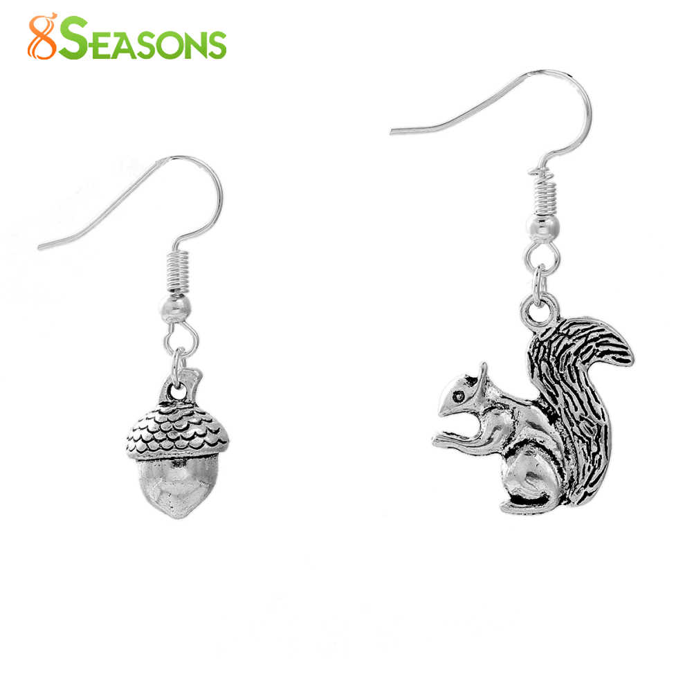 "8SEASONS Handmade Earrings antique silver-color silver-color Acorn Squirrel 40mm(1 5/8"") x 20mm( 6/8""), 1 Pair"